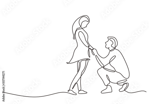 Continuous one line drawing of love marriage marriage symbol Fototapet