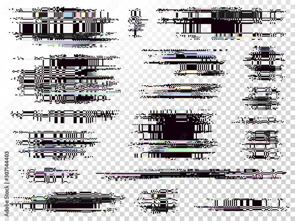 Fototapeta Glitch elements set. Computer screen error templates. Digital pixel noise abstract design. Video game glitch. Television signal fail. Data decay. Technical problem grunge.