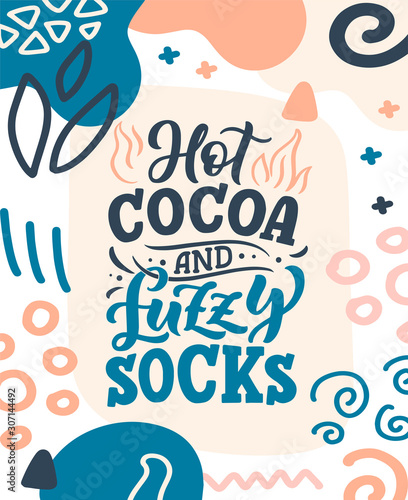 Pinturas sobre lienzo  Hot cocoa hand lettering composition