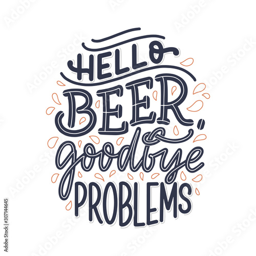 Lettering poster with quote about beer in vintage style Canvas Print