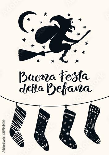 Obraz na plátne Hand drawn vector illustration with witch Befana flying on broomstick, stockings, Italian text Buona Festa della Befana, Happy Epiphany