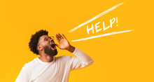 Worried Afro Guy Shouting Help Over Orange Background
