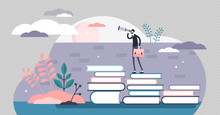 Knowledge Vector Illustration. Smart Wisdom Persons In Flat Tiny Concept.