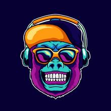 Monkey Smile Wear Cool Glasses And Cap Hat Listening Dope Music On The Headphone Speaker Vector Illustration. Pop Art Color Style Animal Gorilla Head Logo Design For Creative DJ Sound Producer Studio.