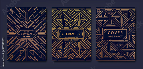 Set of vector Art deco golden covers. Creative design templates. Trendy graphic poster, gatsby brochure, design, packaging and branding. Geometric shapes, ornaments