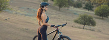Girl On A Mountain Bike On Off...