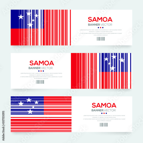 Banner Flag of Samoa ,Vector illustration Tableau sur Toile