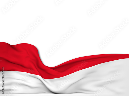 3D rendering Flag of Indonesia,waving over a white background Fototapet