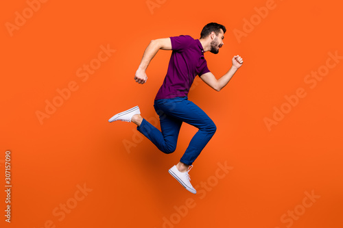 Full length body size photo side profile of urgent man running towards shopping Canvas Print