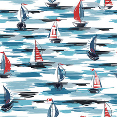 Naklejka Marynistyczny Beautiful Hand drawn brush summer boat,ship in the ocean seamless pattern vector