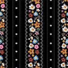 Beautiful Vertical Stripe Liberty Flower With Polka Dots Lace Seamless Pattern ,Floral Meadow Background For Textile, Fabric, Covers, Wallpapers, Print, Gift Wrap And Scrapbook