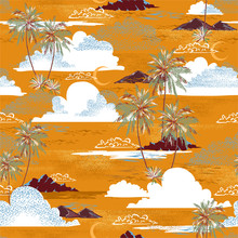 Hawaiian Island Ocean Vibes, Palm Tree, Mountain ,sea Waves Moon And Clouds In Yellow Summer Background Seamless Pattern