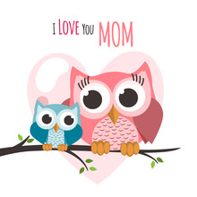 Mothers Day Owls On A Tree