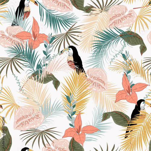 Tropical leaves on pastel mood Seamless graphic design with amazing palms and bird. Fashion, interior, wrapping, packaging suitable. Realistic palm leaves.vector