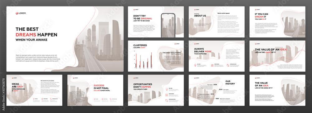 Fototapeta Business presentation powerpoint templates set. Use for presentation background, brochure design, website slider, landing page, annual report, company profile, social media banner.