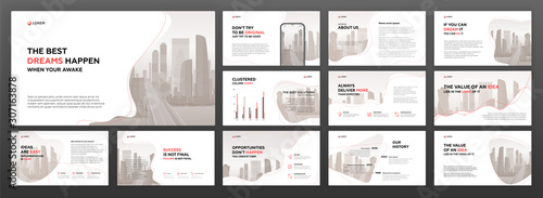 Business presentation powerpoint templates set. Use for presentation background, brochure design, website slider, landing page, annual report, company profile, social media banner. - fototapety na wymiar
