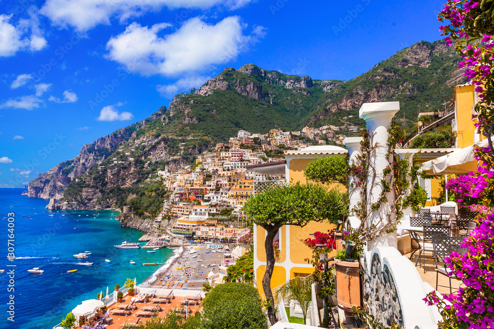 Fototapeta Splendid Amalfi coast - beautiful Positano  popular for summer holidays. Travel and landmarks of Italy