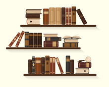 Three Bookshelves With Old Or Historical Brown Books. Vintage Vector Illustration.