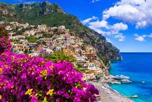 Splendid Amalfi Coast - Beautiful Positano Village. Tavel And Landmarks Of Italy