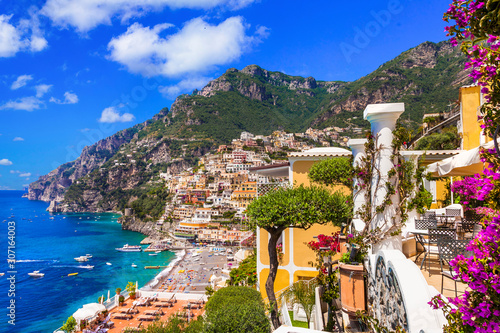Splendid Amalfi coast - beautiful Positano popular for summer holidays. Travel and landmarks of Italy