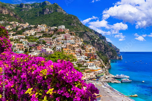Splendid Amalfi coast - beautiful Positano village. Tavel and landmarks of Italy