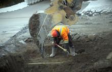 Construction Worker Shovel Road Repair Drain Sewer Work Excavation Digger