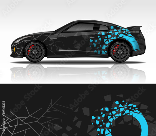 Fotografía  Car wrap decal design vector, for advertising or custom livery WRC style, race rally car vehicle sticker and tinting custom