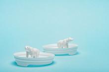 Toy Polar Bears On Plastic Cof...