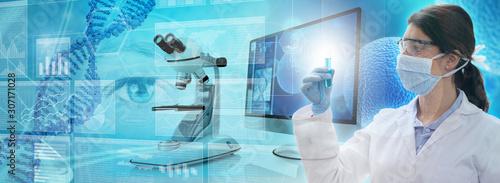 Obraz scientist analyzing a test tube in a genetic research lab - fototapety do salonu