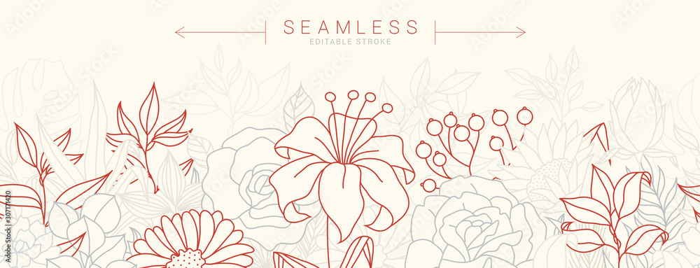 Fototapeta Tropical flowers border seamless pattern in sketch style on white background - hand drawn exotic blooms of hibiscus, protea, magnolia and plumeria with colorful line contour. Vector illustration
