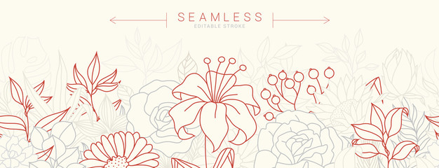 Tropical flowers border seamless pattern in sketch style on white background - hand drawn exotic blooms of hibiscus, protea, magnolia and plumeria with colorful line contour. Vector illustration