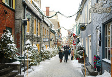 Quebec, Canada - December 21, 2016:  Rue Du Petit-Champlain At 21 December, 2016 In Quebec City, Quebec, Canada. Historic District Of Quebec City.