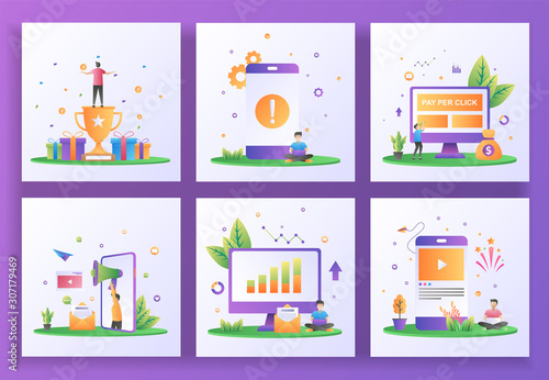 Set Of Flat Design Concept Reward Program Application Error Pay Per Click Refer A Friend Reporting Sales Social Media Can Use For Web Landing Page Ui App Banner Template Vector Illustration