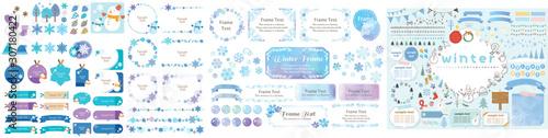 Zimowa niebieska rama, etykieta, tło i kolekcja ikon