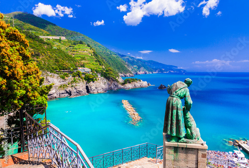 Italian summer holidays - beautiful Monterosso al Mare in Cinque Terre national park. Liguria, Italy