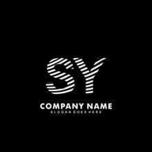 Initial Letter SY Zebra Style Wood Texture Template Logo