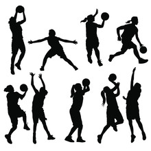 Vector Silhouettes Of Girls Hi...