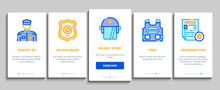 Police Department Onboarding Mobile App Page Screen. Policeman Silhouette, Police Badge And Body Armor, Helmet And Gun And Truncheon Concept Illustrations