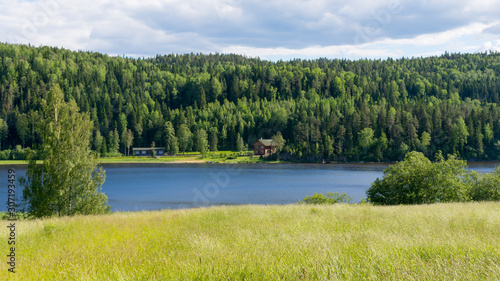 view of the green shores of lake Ladoga Slika na platnu