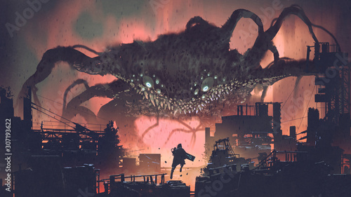 Photo sci-fi scene showing the giant monster invading night city, digital art style, i