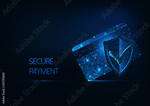 Photo Futuristic secure payment concept with glow low polygonal credit card, protection approval shield