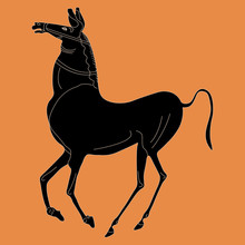 Stylized Ancient Greek Horse. Vase Painting Style.