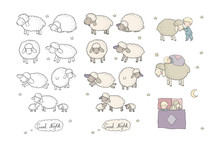 Sleeping Boy And Cute Cartoon Sheep. Good Night. Sleep Time. Print For Pajamas .