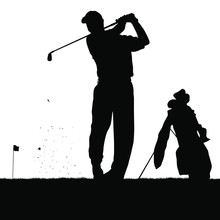 A Vector Silhouette Of A Golfe...