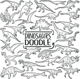 Fototapeta Fototapety na ścianę do pokoju dziecięcego - Dinosaurs Prehistoric Animals. Traditional Doodle Icons. Sketch Hand Made Design Vector.