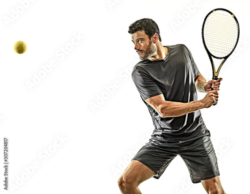 one caucasian mature tennis player man backhand waist up profile side view in st Wallpaper Mural