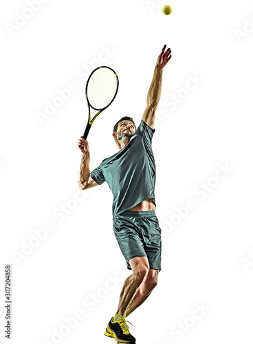 Fotografia, Obraz one caucasian mature tennis player man serving service in studio isolated on whi