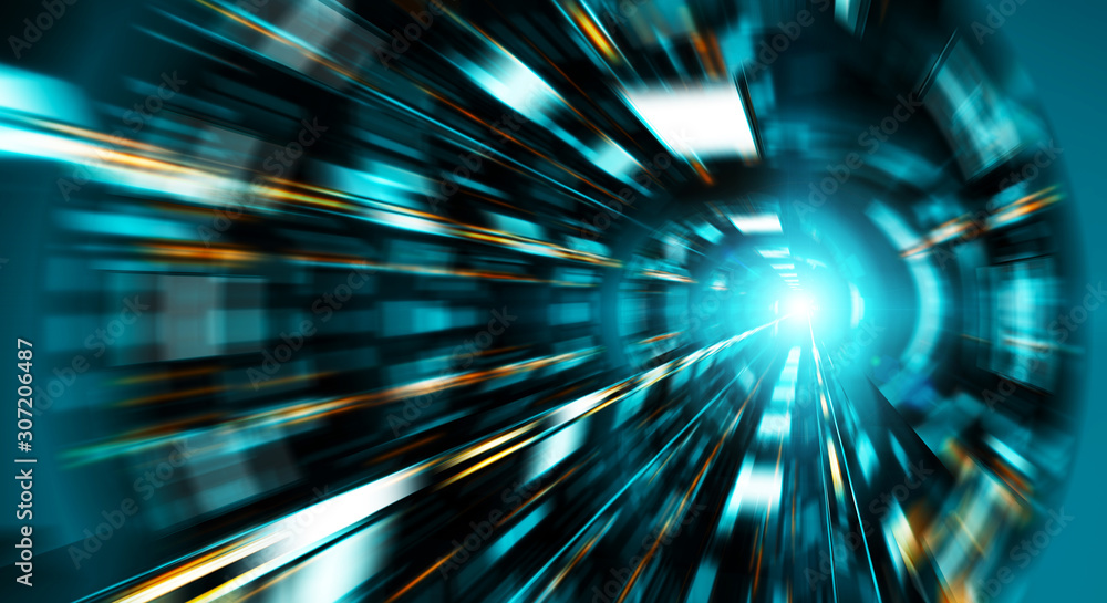 Fototapeta Abstract zoom effect in a blue dark tunnel background with traffic lights