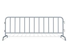 Portable Steel Fence. Steel Construction Element.Realistic Detailed Illustration On A White Background