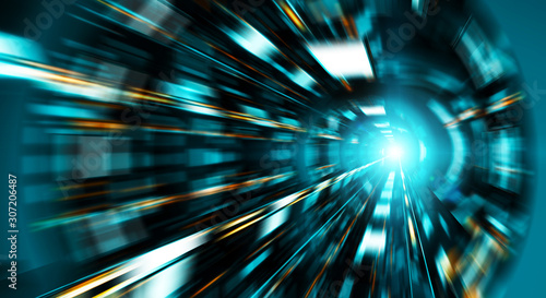 Fotografie, Obraz Abstract zoom effect in a blue dark tunnel background with traffic lights
